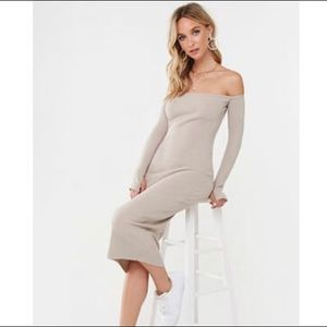 BETTER BE Bodycon Off Shoulder Ribbed Dress